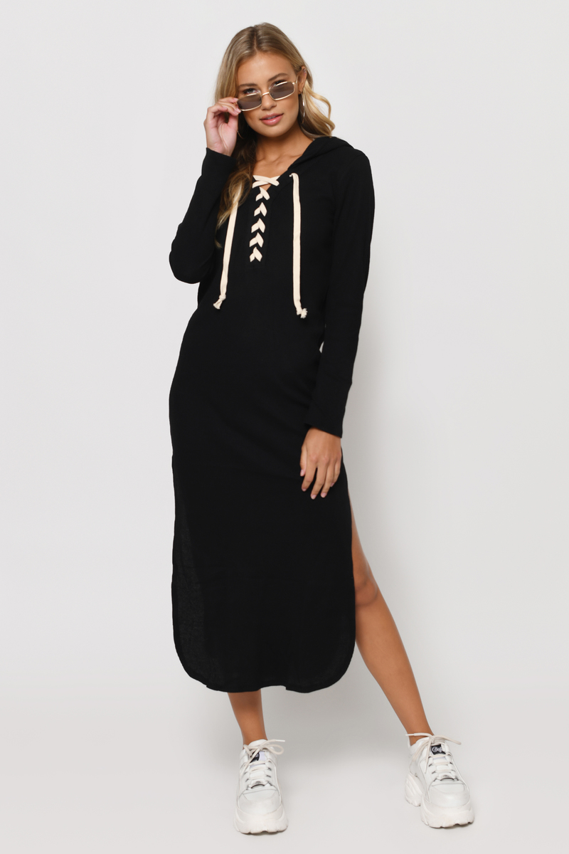 Trendy Black Maxi Dress - Long Sleeve Dress - $16.00