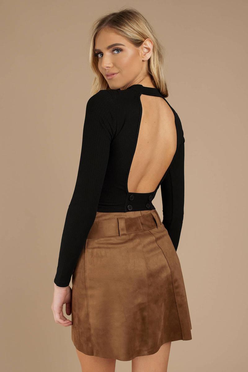 c858f0d3 Black Knit Top - Open Back Sweater - Black Long Sleeve Top - $23 ...