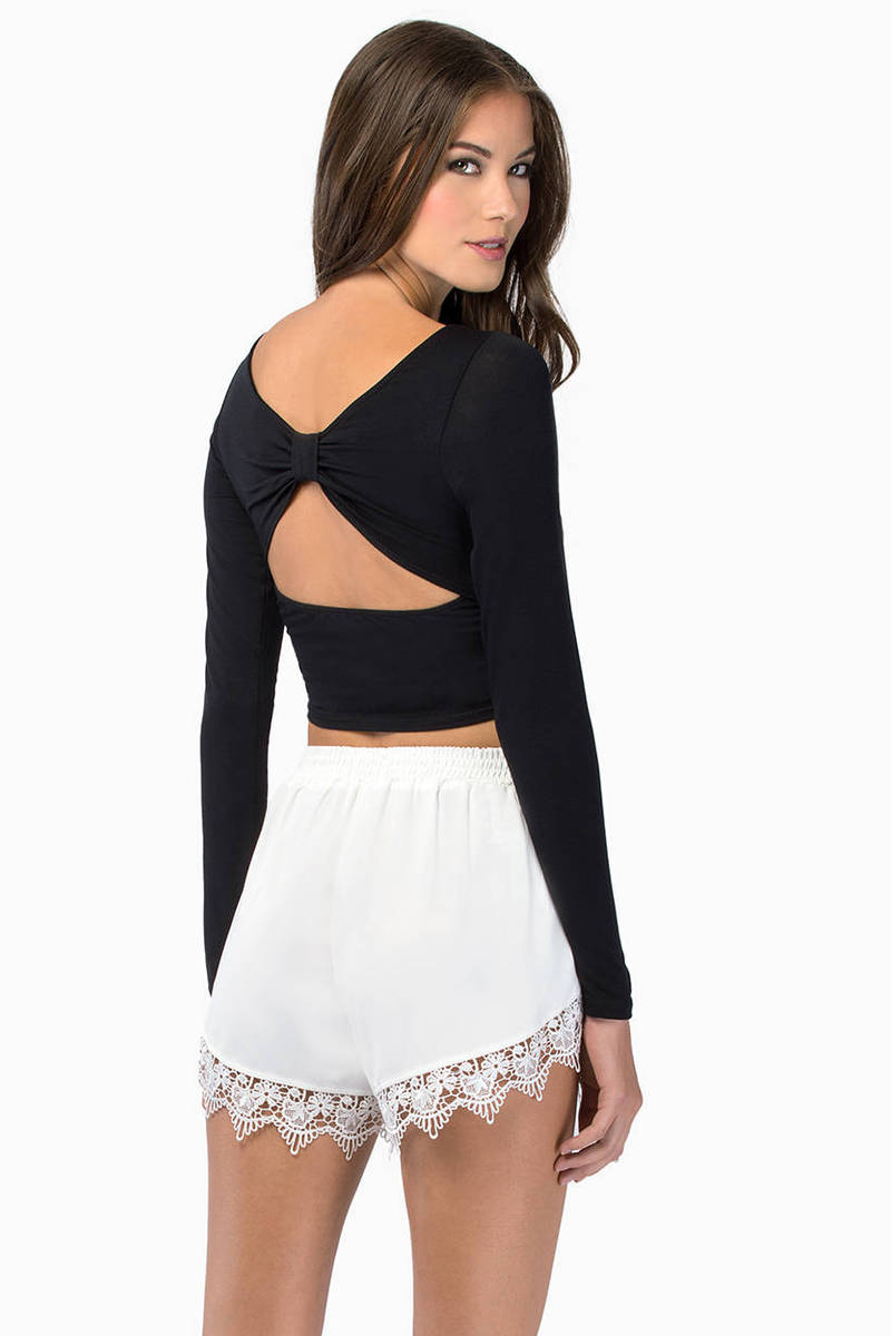 Back Bow Ivory Crop Top