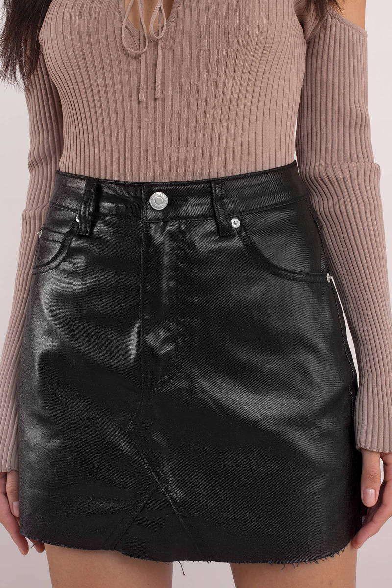 Black coated denim skirt