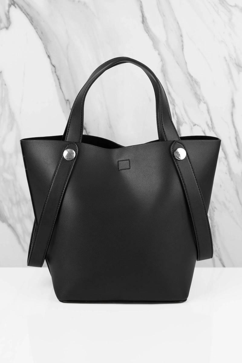 Melie Bianco Melie Bianco Bailey Black Faux Leather Tote Bag