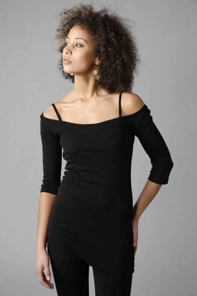 Black Designer Tee - Athleisure Shirt - Black Open Shoulder Shirt ... 158f64674