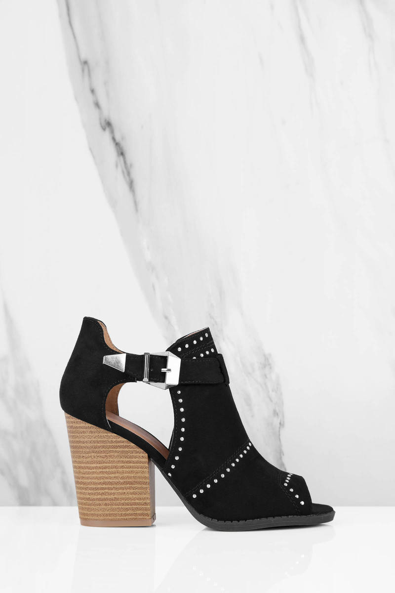 Barnes Black Side Cut Out Ankle Booties