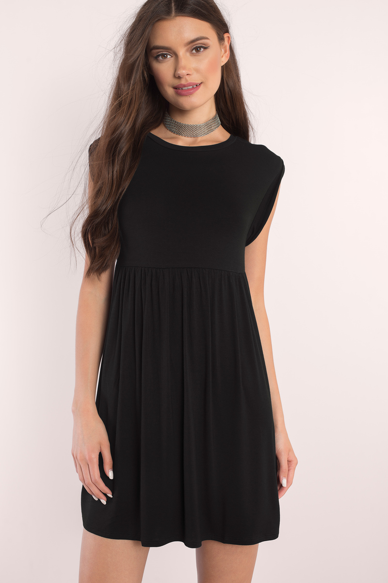 Cute Black Dress - Black Dress - Babydoll Mini Dress - Day Dress - $23