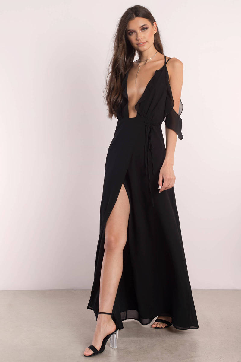 black dress with high slits lovely orange maxi dress front slit plunging dress 32 2822