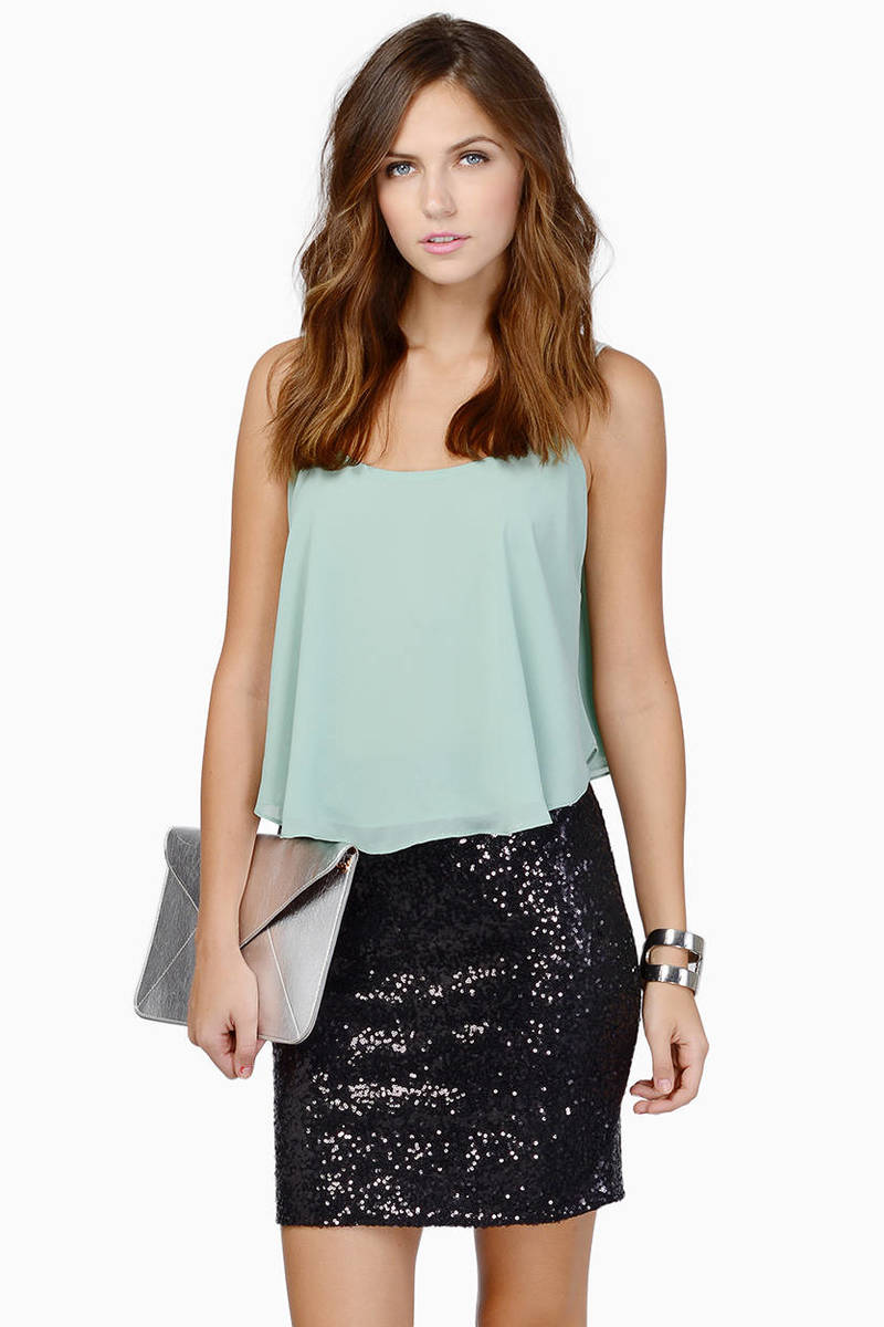 Be Seen Black Sequin Pencil Skirt
