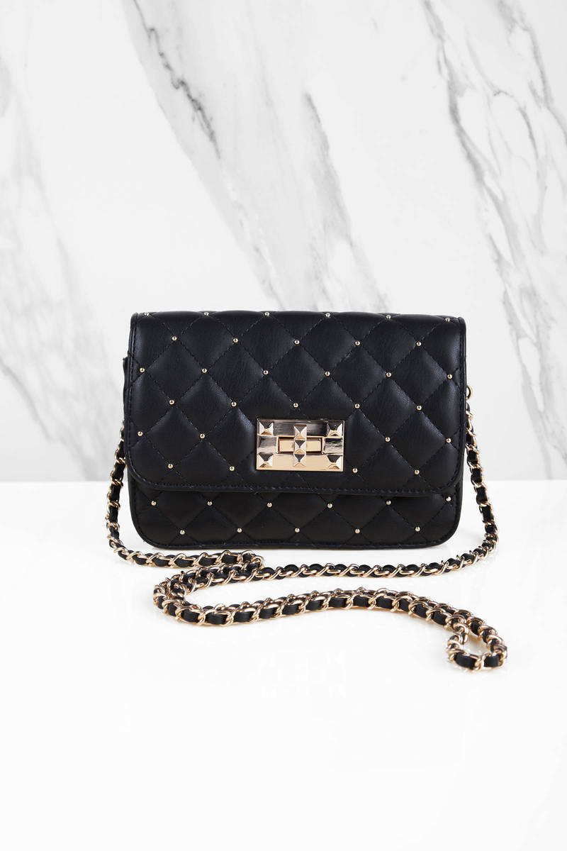 Bea Black Faux Leather Studded Cross Body Bag