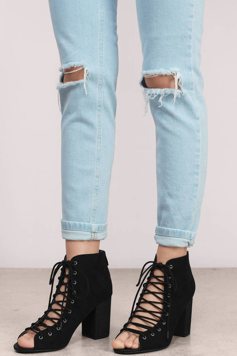 8c810a91a6 Black Heels - Lace Up Heels - Peep Toe Heels - Ankle Heels - AU$ 81 ...