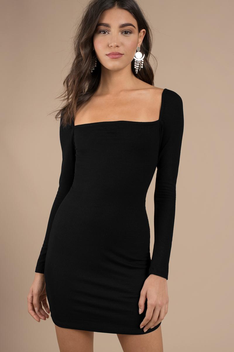 Rorry Velvet Bardot Bodycon Dress Black - Dresses