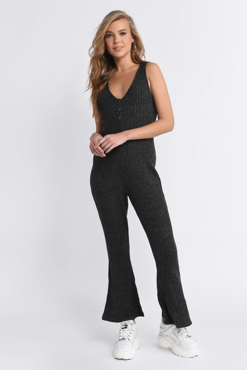Better Days Black Ribbed Jumpsuit