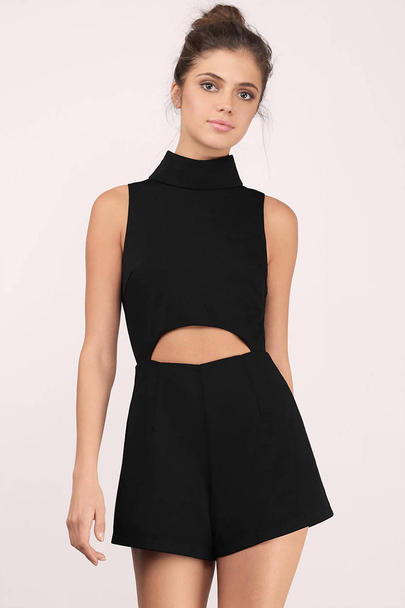 e0e60f33c06e Black Romper - Turtleneck Romper - Black Cut Out Romper - Sleeveless ...