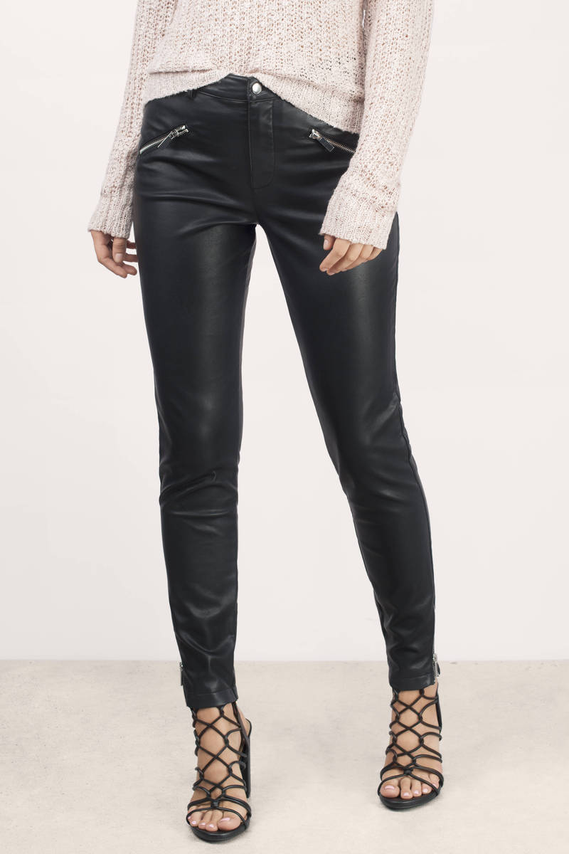 Biker Babe Black Faux Leather Moto Pants