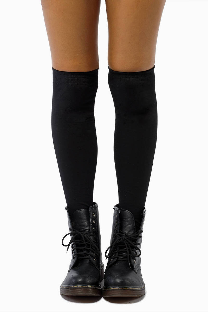 Biker Zipper Thigh High Socks