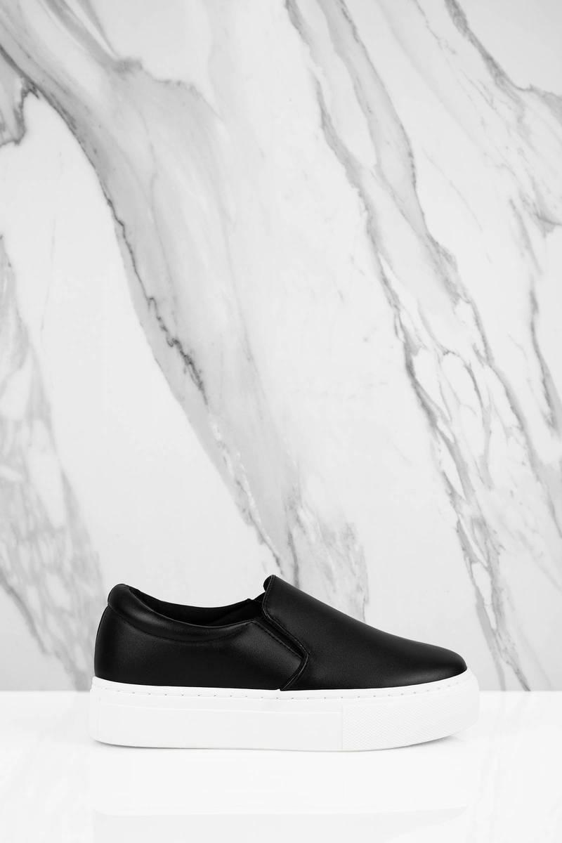 Blaire Black Pleather Slip On Sneakers