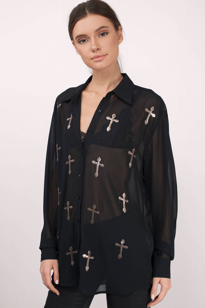 Bless My Blouse Black Sequin Cross Print Blouse