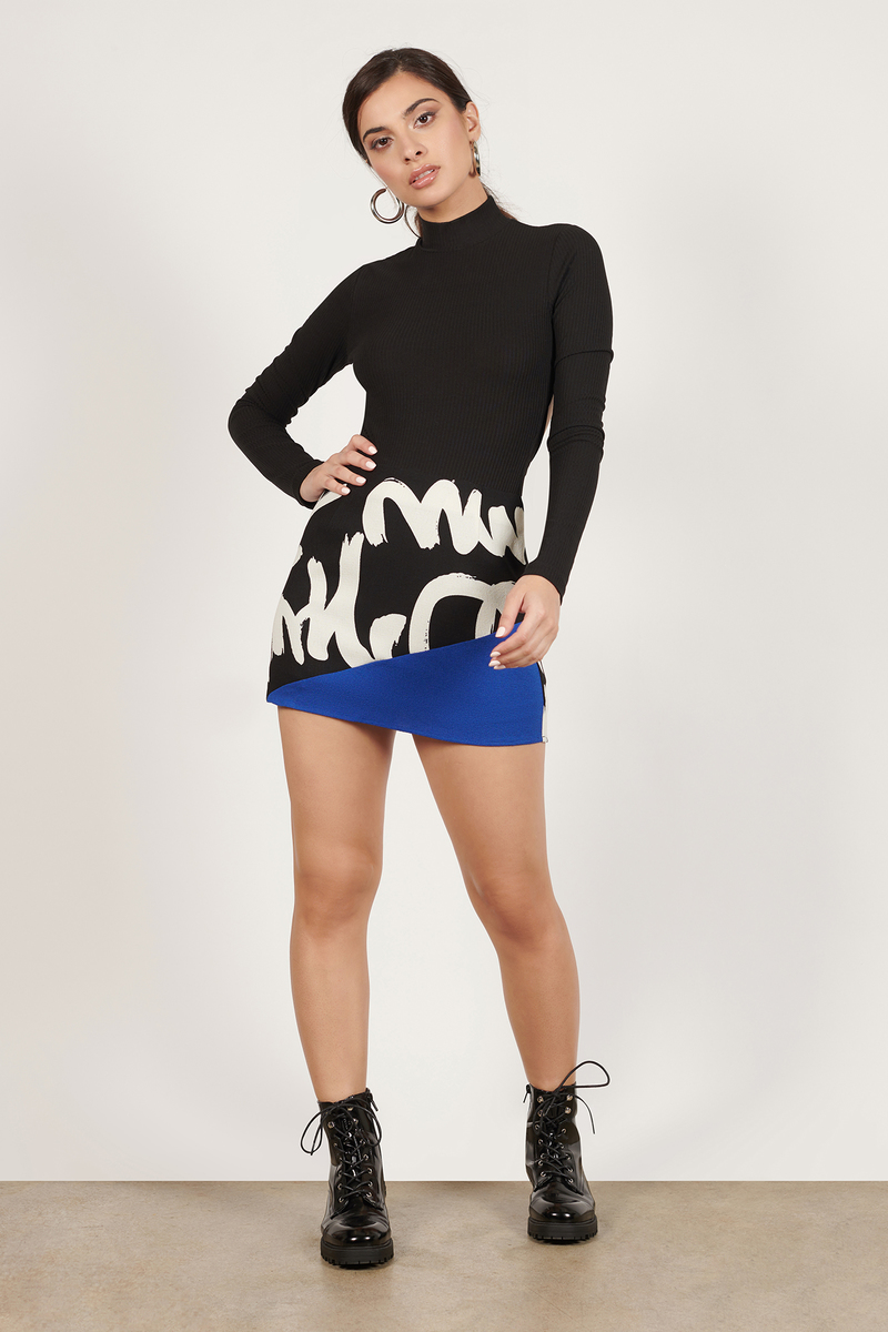 Block You Out White & Pink Graphic Mini Skirt