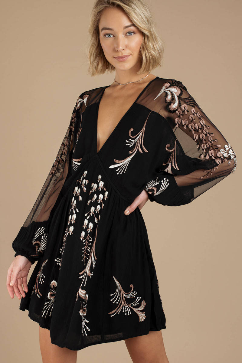 8d8bbb3fd2e Black Free People Dress - Bubble Sleeve Dress - Black Embroidered ...
