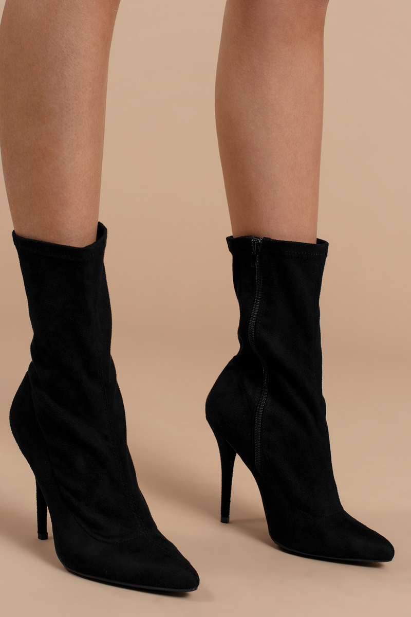 80ea2e52b4924 Trendy Black Boots - Formal Booties - Classic Black Sock Booties ...