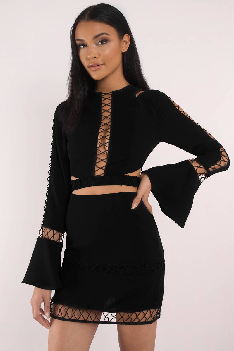 1477b5760ca Black Finders Keepers Skirt - Crochet Trim Skirt - Black Bodycon ...