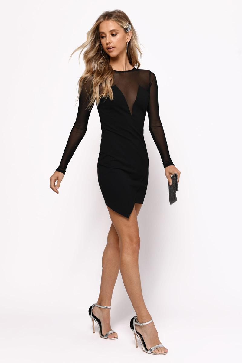 324edcfa15ebc Black Bodycon Dress - Long Sleeve Dress - Black Sweetheart Dress ...