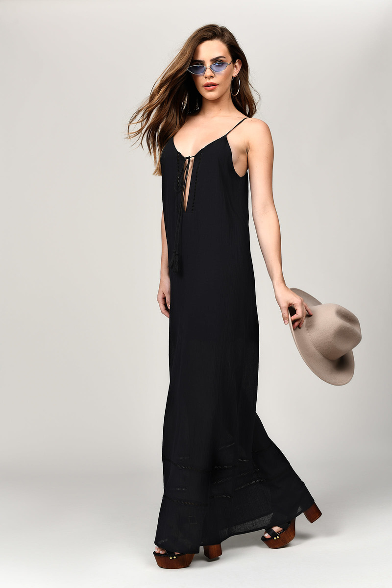 Breezy Days Black Lace Trim Maxi Dress