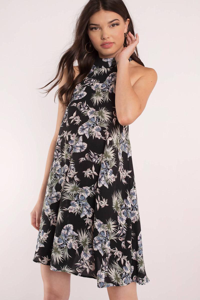 Brooklyn Black Floral Print Shift Dress
