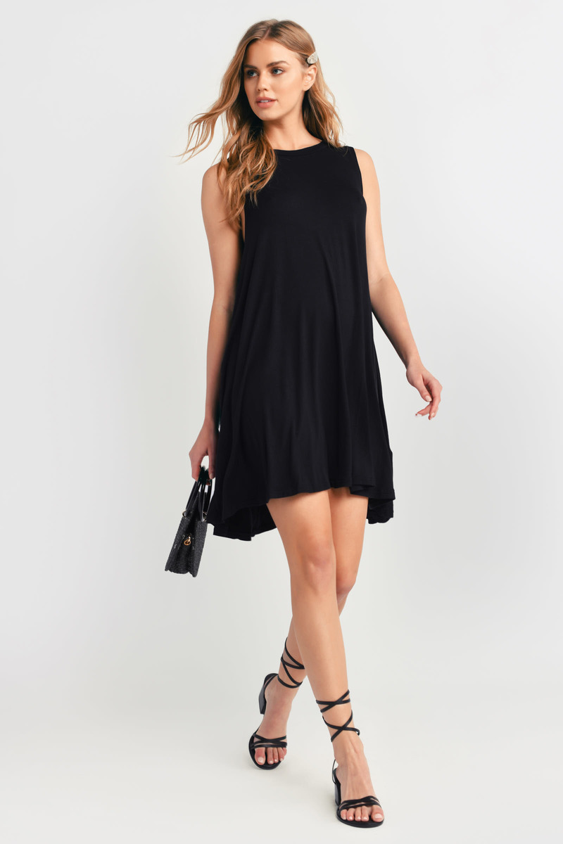 Cute Black Shift Dress Flowy Dress Black Dress Shift
