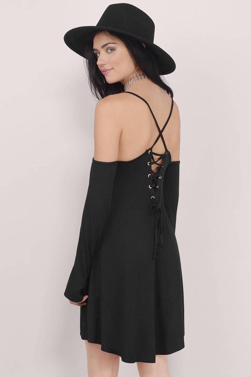 Buttercup Black Long Sleeve Cold Shoulder Shift Dress