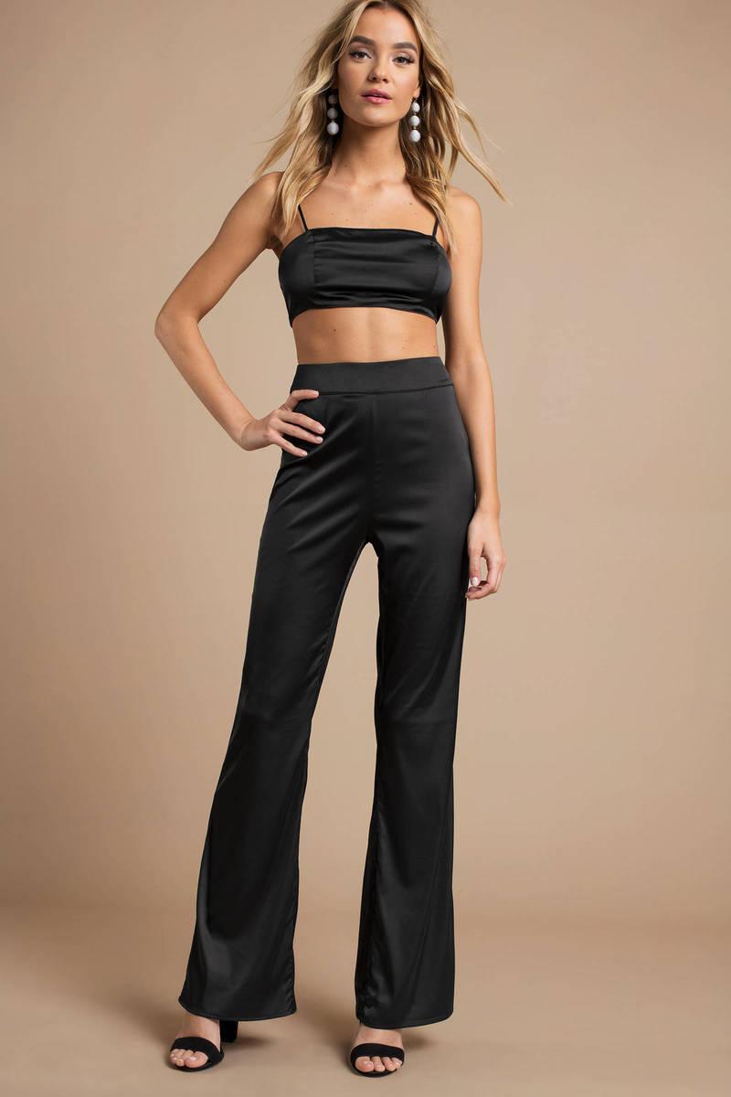 9e97e34ae Trendy Black Pants - Satin Flare Pants - Black Bell Bottom Pants ...