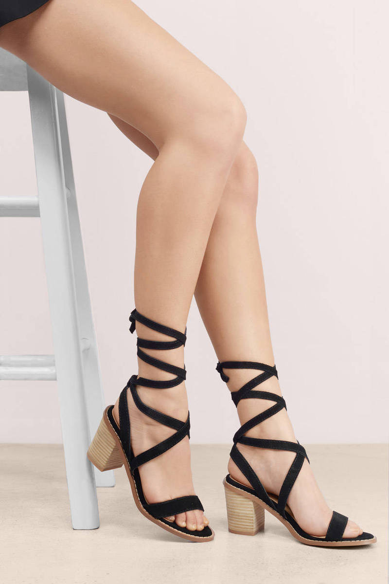 d845e9ef55141e Black Sandals - Strappy Sandals - Open Toe Sandals - Heeled Sandals ...