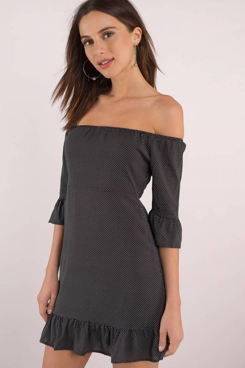 84d460980f30 Black Casual Dress - Strapless Polka Dot Dress - Black Day Dress ...