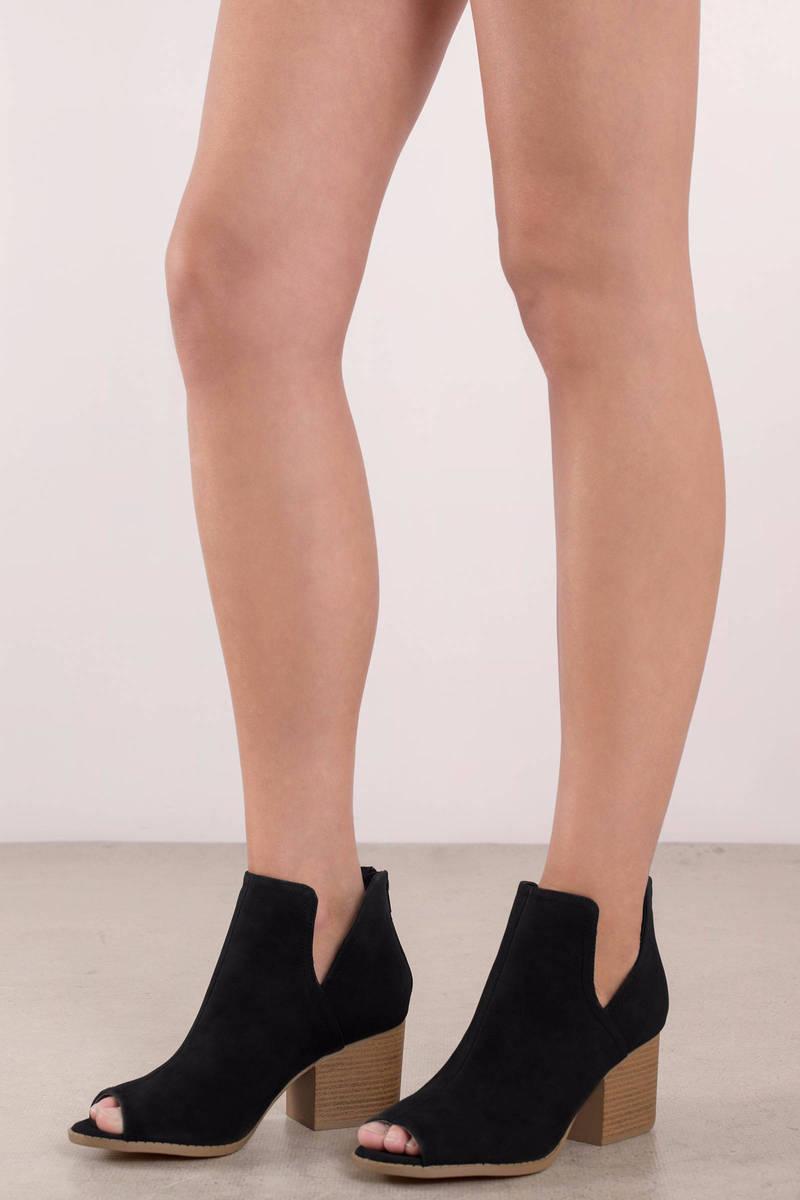 Camila Black Peep Toe Booties