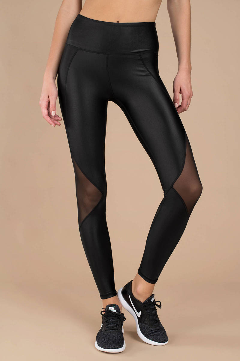 11e635f7ccf94 Black Leggings - Shiny Leggings - Black Mesh Paneled Leggings - $19 ...