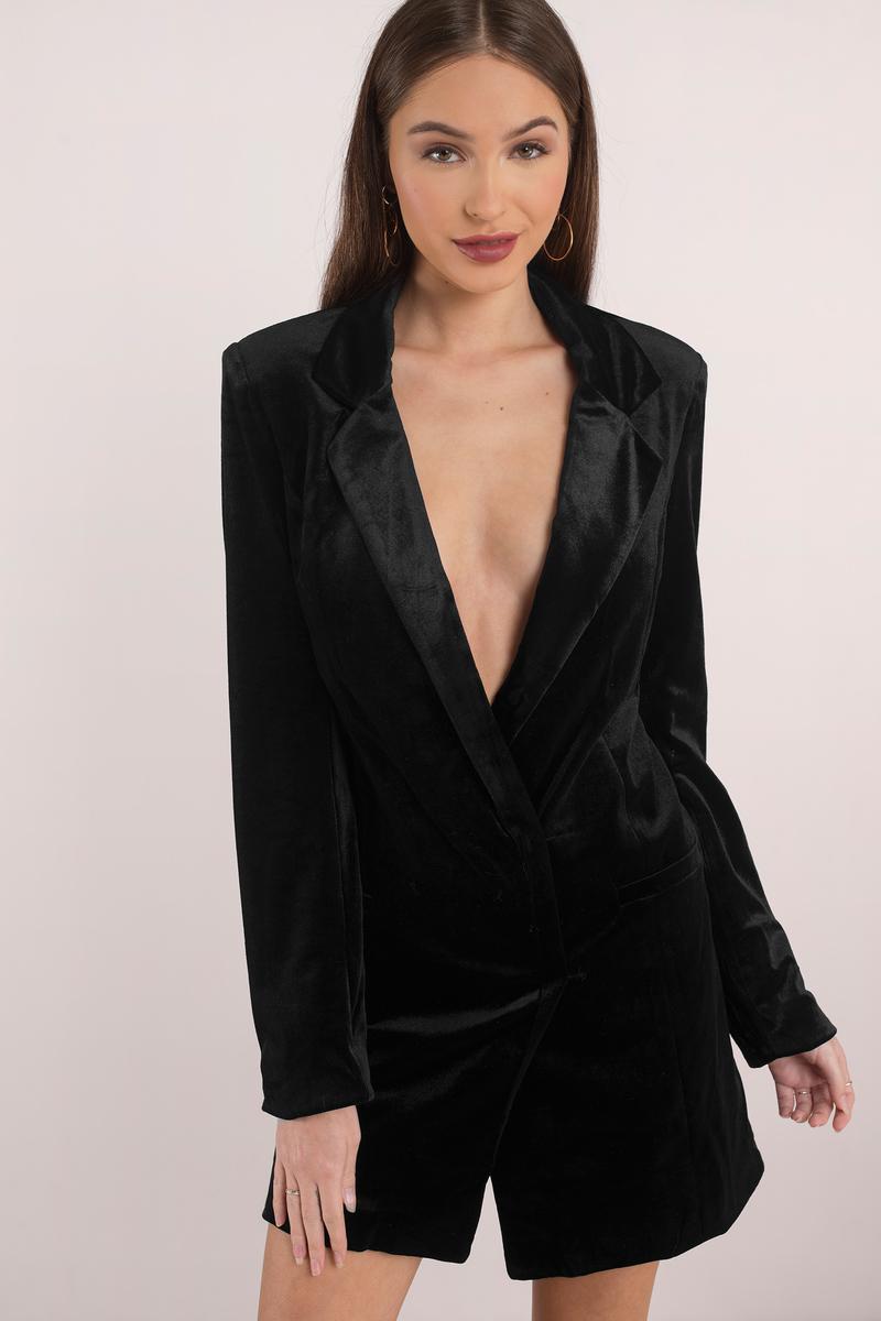 fc94a0147201 Sexy Black Shift Dress - Velvet Long Sleeve Dress - Black Blazer ...