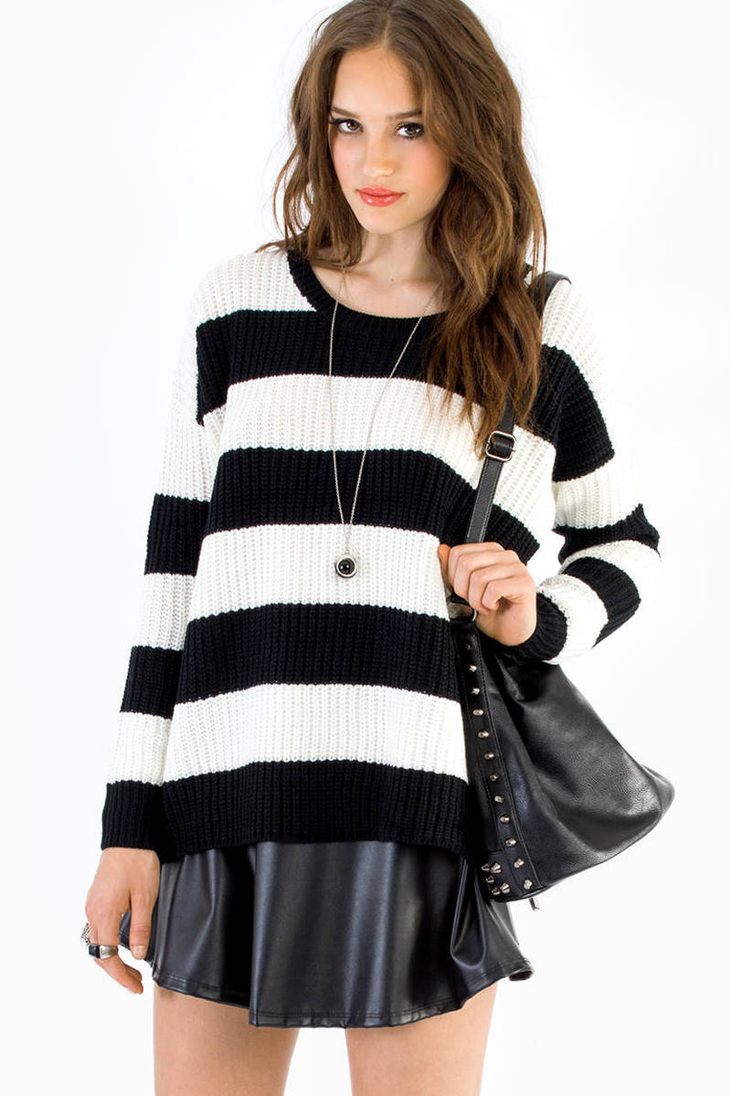 Carlie Black Striped Knitted Sweater