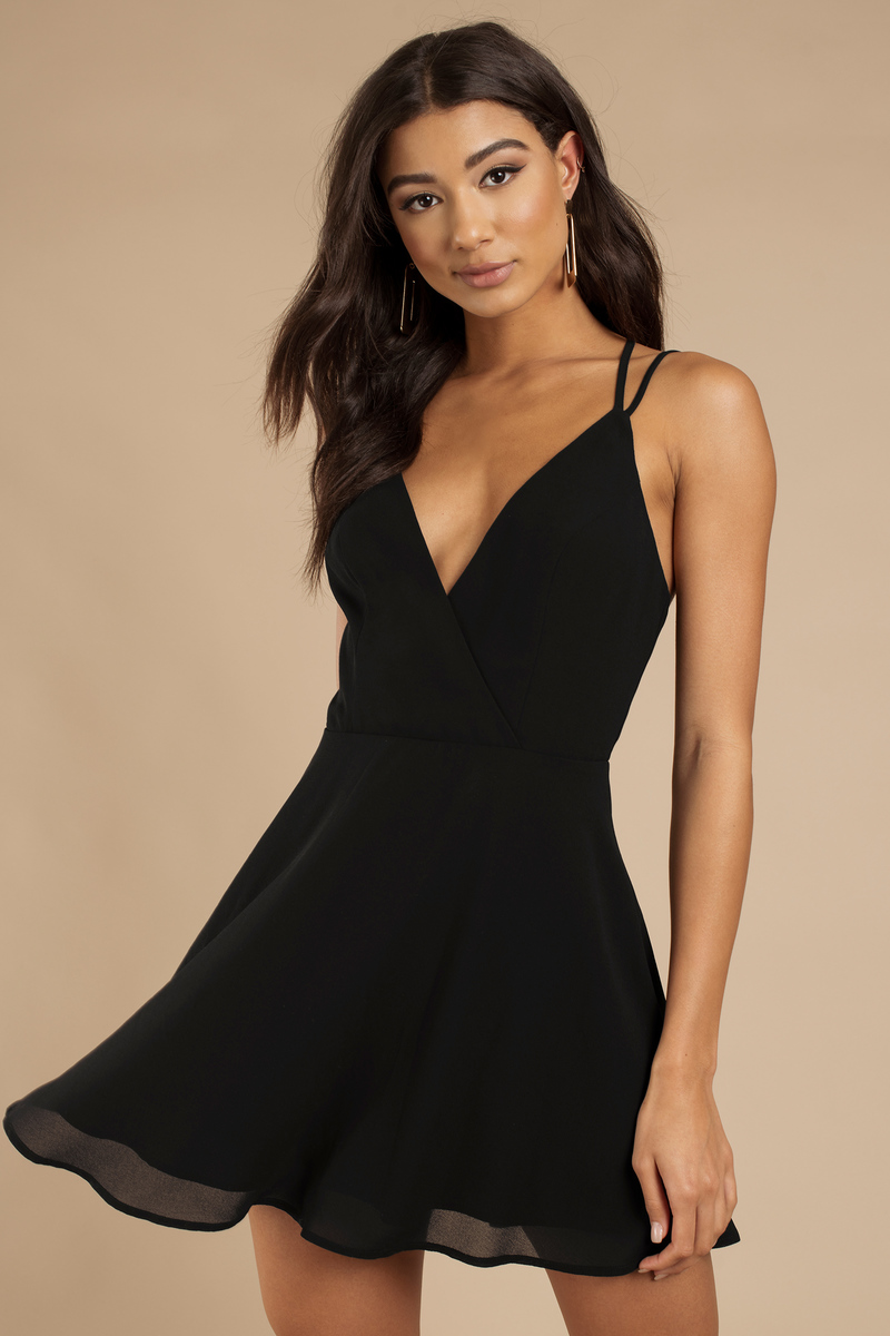 black skater dress strappy back dress black dress