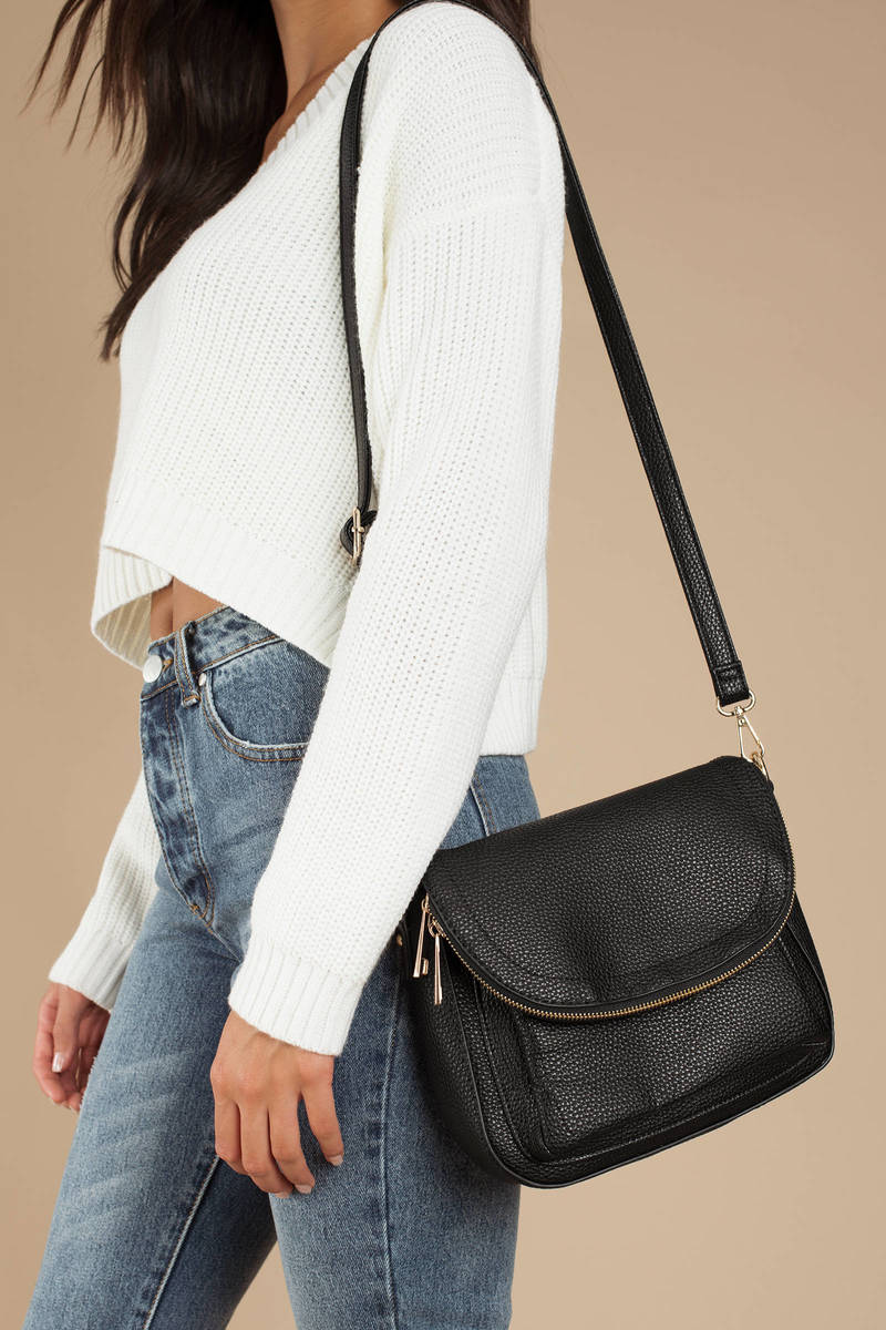 903aa69b4470 Black Crossbody Bag - Zip Up Bag - Black Foldover Crossbody - AU  42 ...