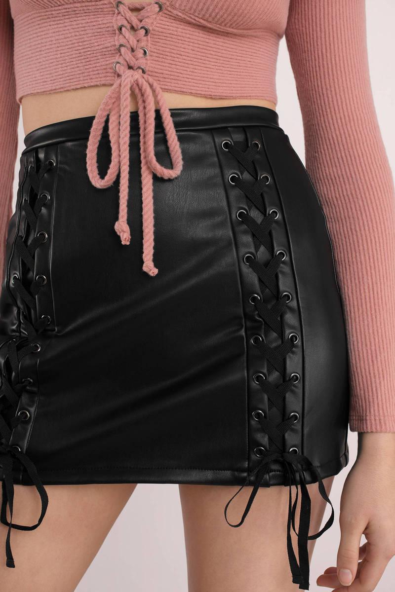 16b09cc2c43 Black Skirt - Lace Up Skirt - Black Faux Leather Skirt - NZ$ 134 ...