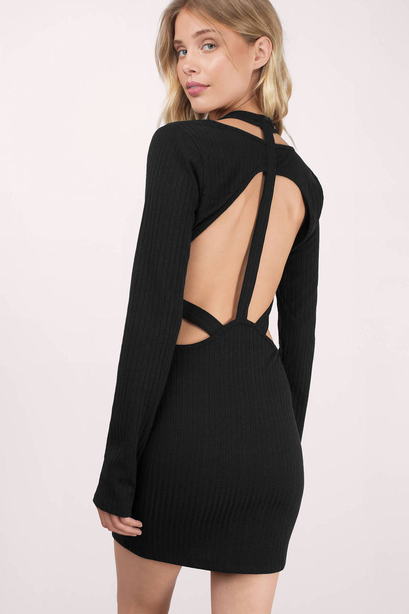 Caught Up Black Ribbed Bodycon Dress