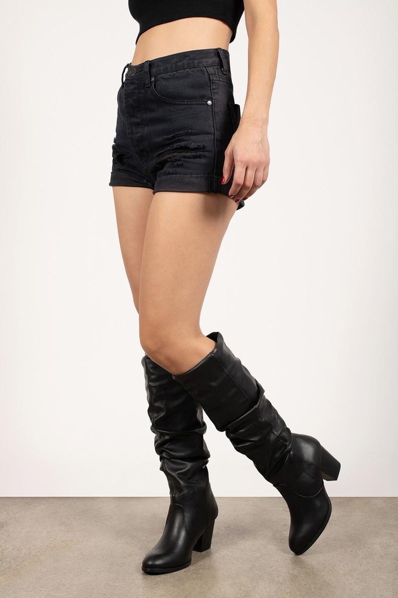 Celine Black Pu Ruched Knee High Boots