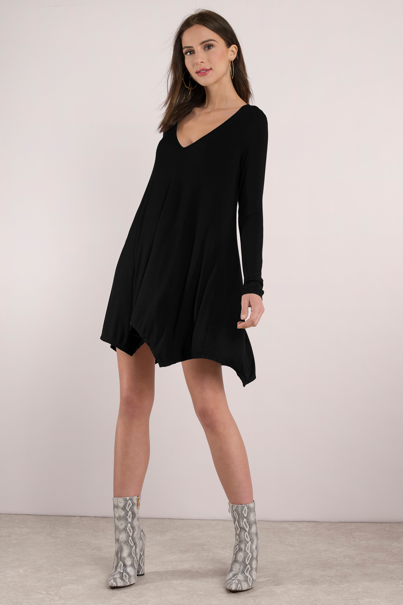 Charleigh Sharkbite Black Shift Dress