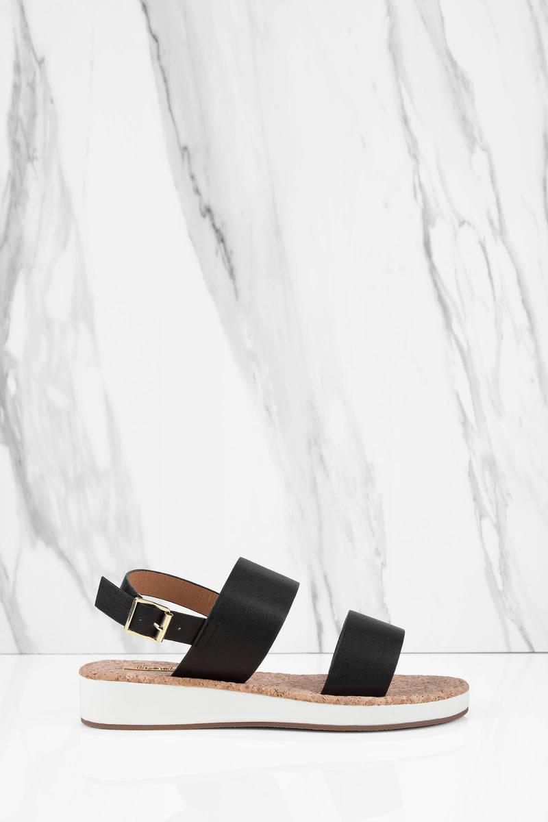 Charlie Double Strap Black Sandals