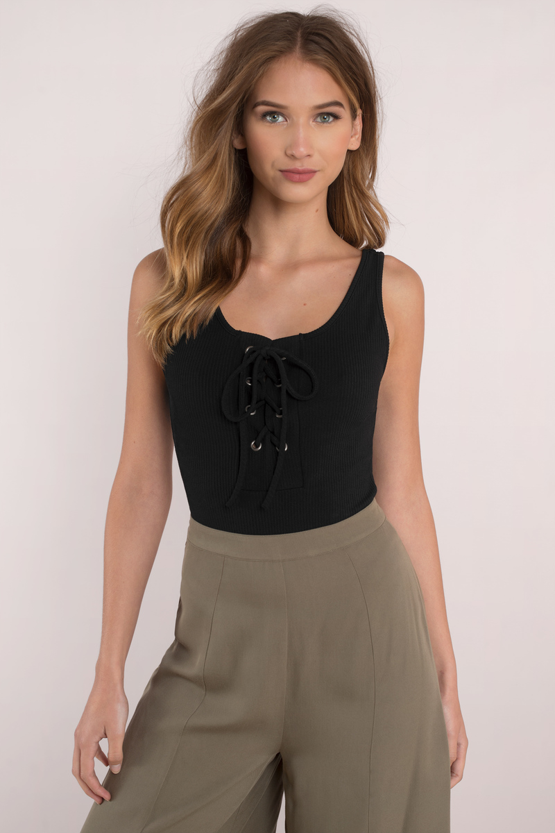 Charlie White Lace Up Bodysuit