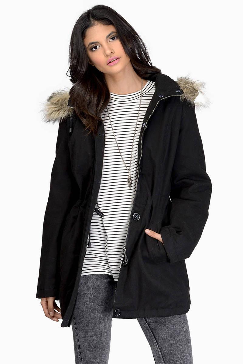 Chasing Rumors Olive Long Sleeve Fur Trim Hood Anorak Coat