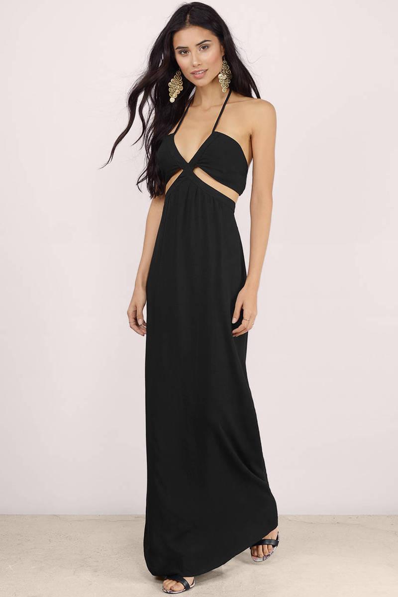 Black Maxi Dress Halter Maxi Dress Black Cut Out Dress