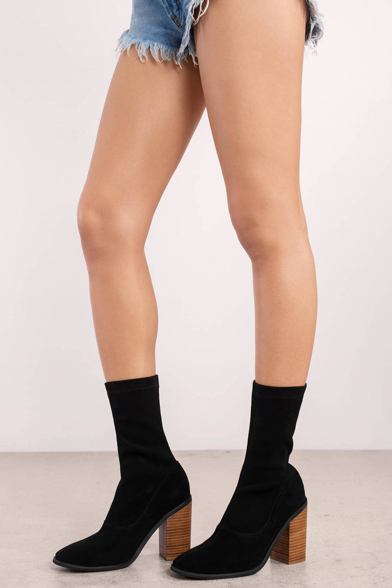 Black Sol Sana Boots - Pointed Sock Boots