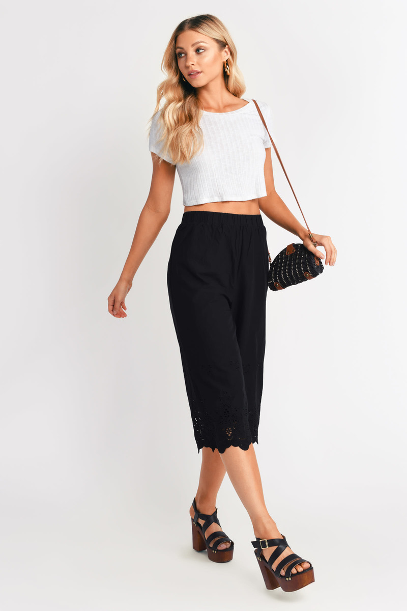 Chrissy White Embroidered Cropped Pants