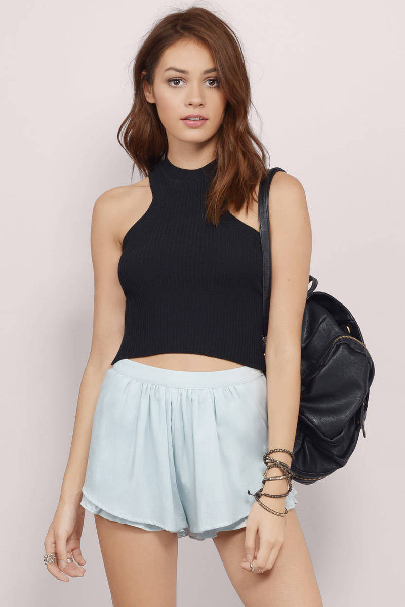 Chrissy Black Ribbed Crop Top