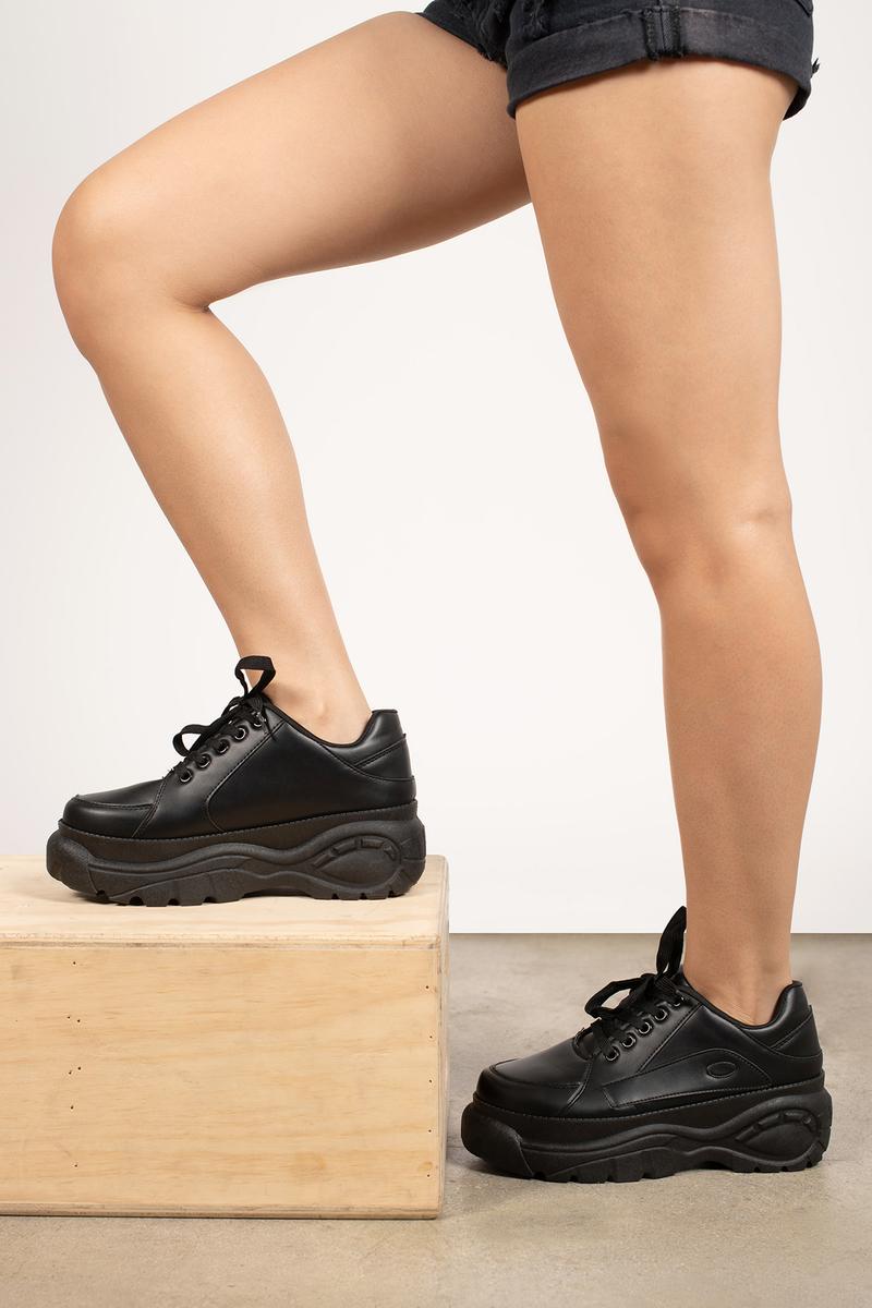 Cici Black Lace Up Platform Sneakers