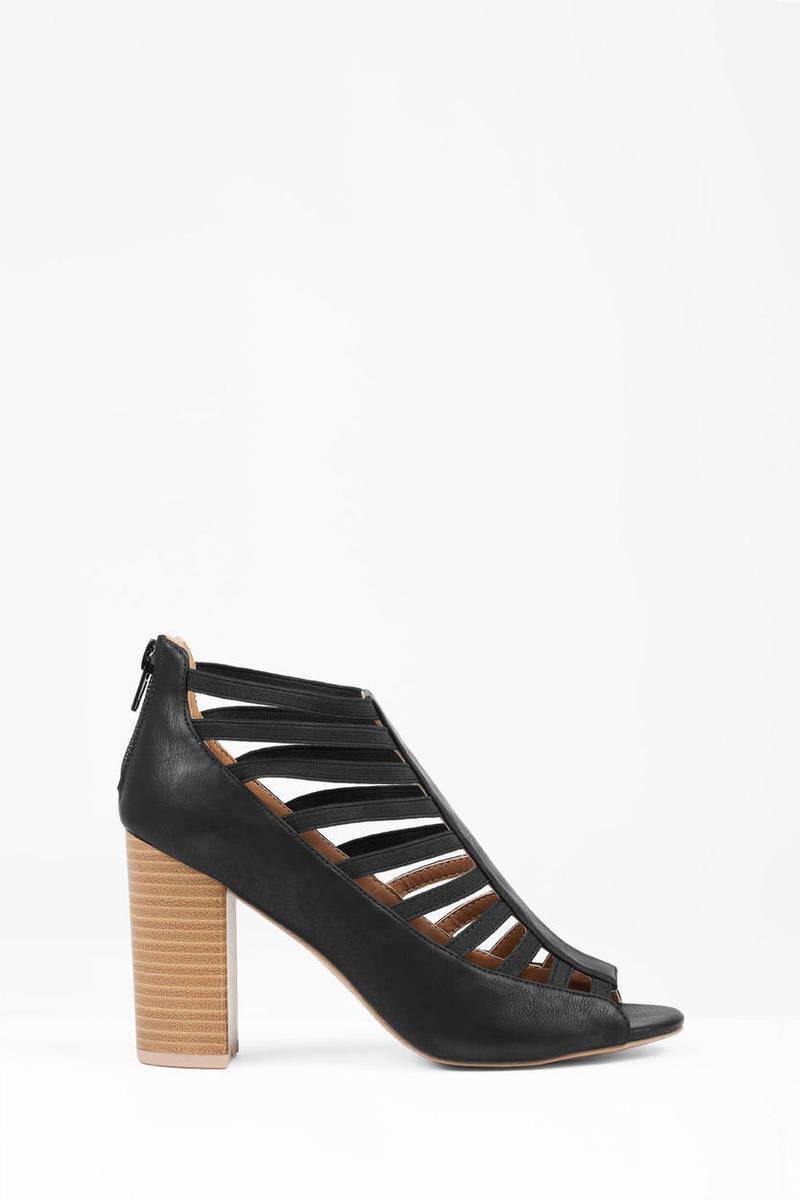Black sandals with heels - Clarity Black Ankle Heels